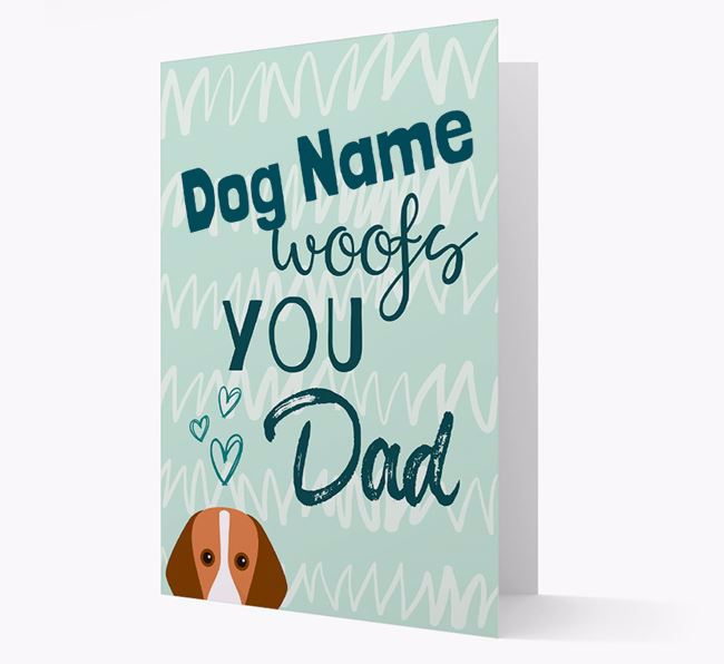 Personalised Foxhound ' woofs you, Dad' Card