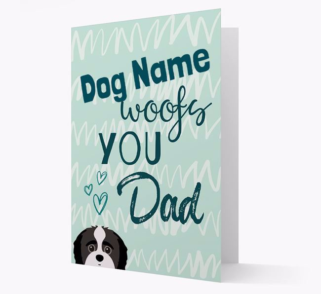 Personalised Jack-A-Poo ' woofs you, Dad' Card