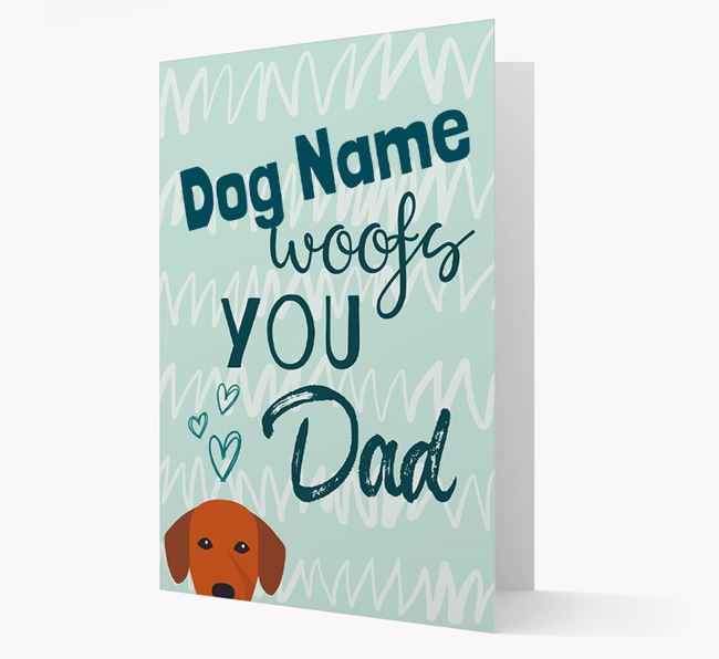 Personalised Springador ' woofs you, Dad' Card