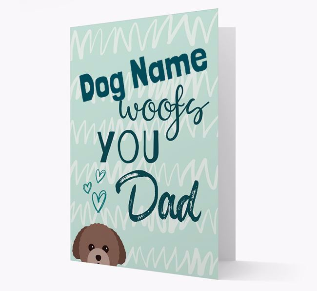 Personalised Toy Poodle ' woofs you, Dad' Card
