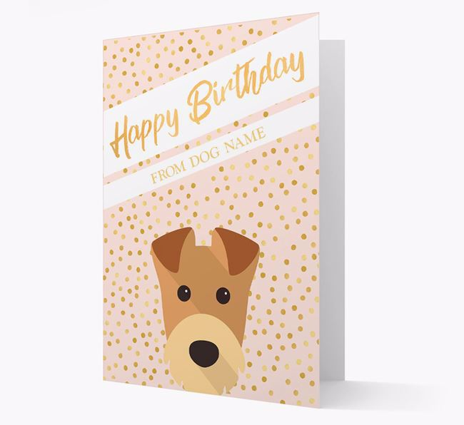 Personalised 'Happy Birthday' Gold Detail Airedale Terrier Card