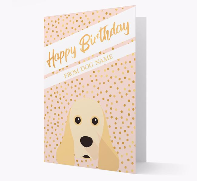 Personalised 'Happy Birthday' Gold Detail American Cocker Spaniel Card