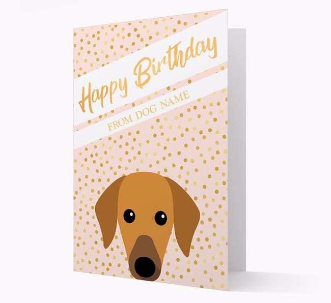 Personalised 'Happy Birthday' Gold Detail Azawakh Card