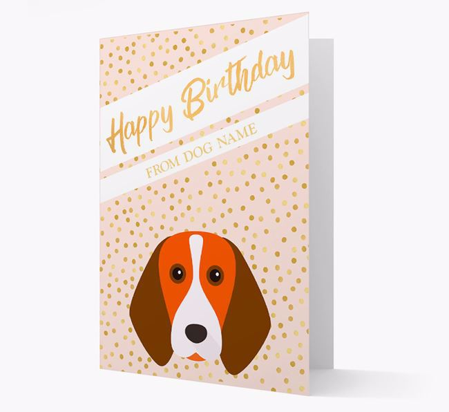 Personalised 'Happy Birthday' Gold Detail Beagle Card