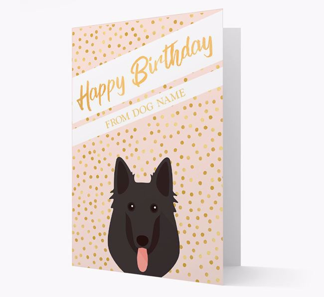 Personalised 'Happy Birthday' Gold Detail Belgian Shepherd Card