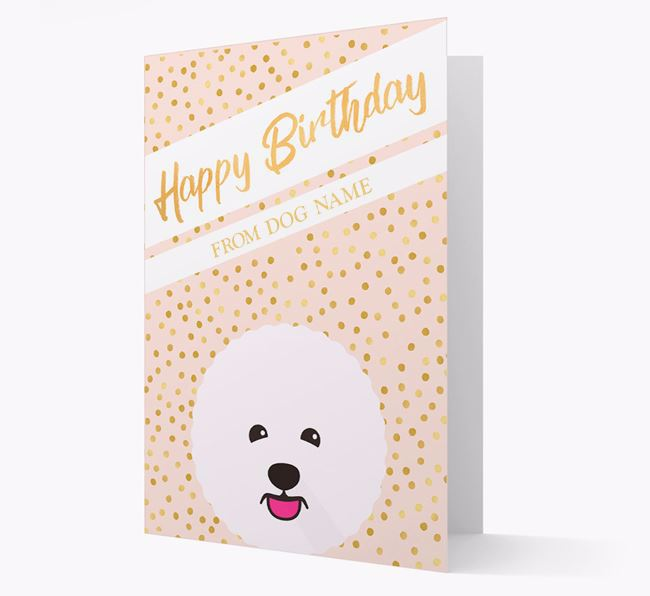 Personalised 'Happy Birthday' Gold Detail Bichon Frise Card