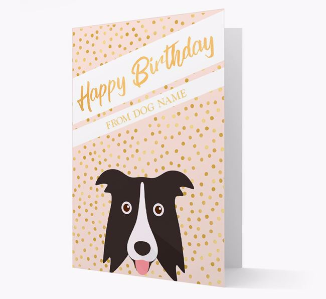 Personalised 'Happy Birthday' Gold Detail Border Collie Card