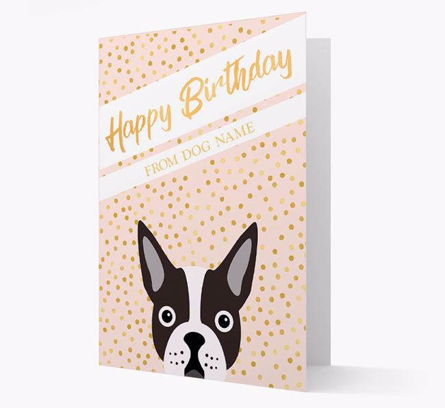 Personalised 'Happy Birthday' Gold Detail Boston Terrier Card