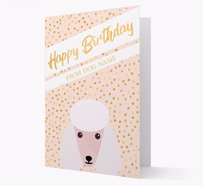 Personalised 'Happy Birthday' Gold Detail Poodle Card