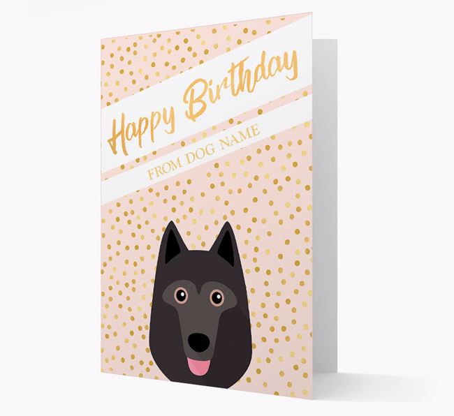 Personalised 'Happy Birthday' Gold Detail Schipperke Card