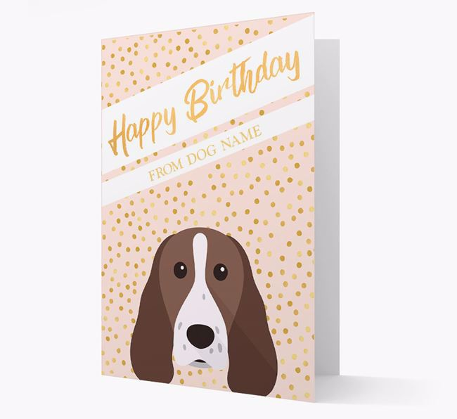 Personalised 'Happy Birthday' Gold Detail Springer Spaniel Card