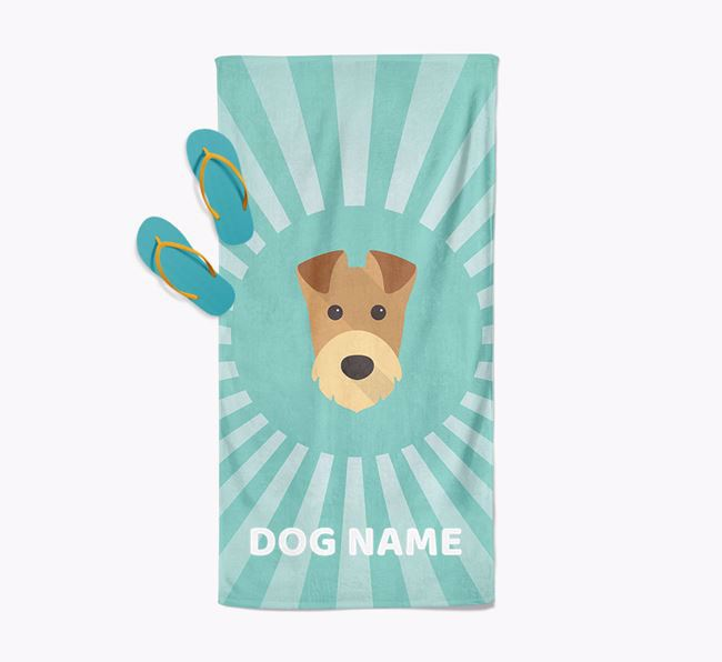 Personalised Pool Towel with Airedale Terrier Icon