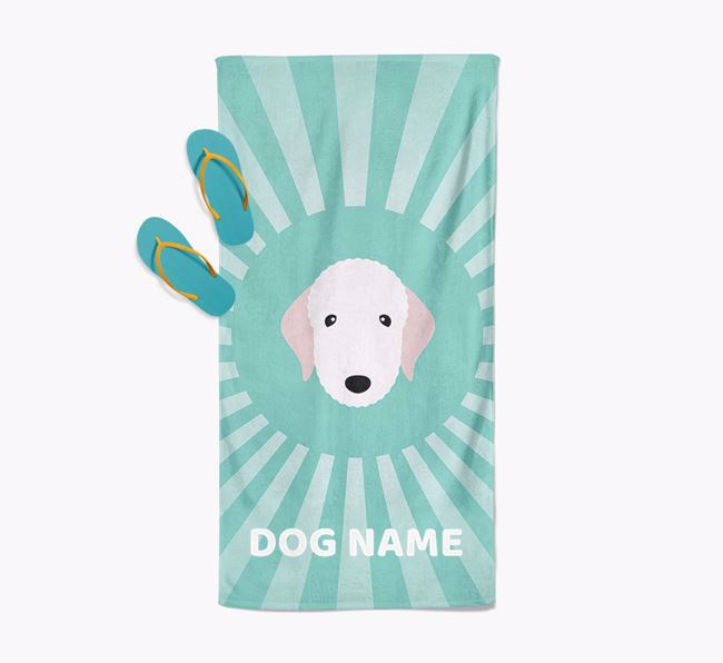 Personalised Pool Towel with Bedlington Terrier Icon