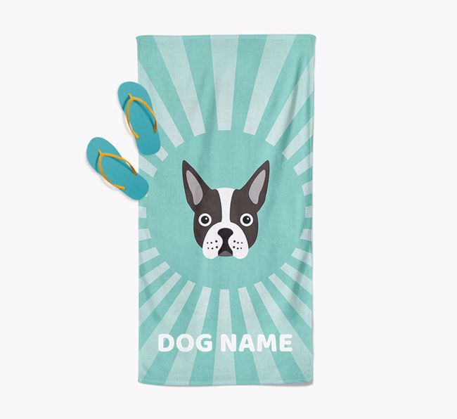 Personalised Pool Towel with Boston Terrier Icon