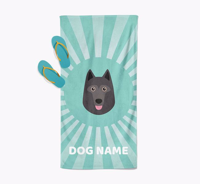 Personalised Pool Towel with Schipperke Icon