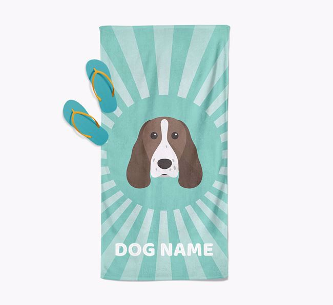 Personalised Pool Towel with Springer Spaniel Icon