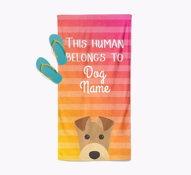 Personalised Pool Towel 'This Human Belongs To ' with Airedale Terrier Icon