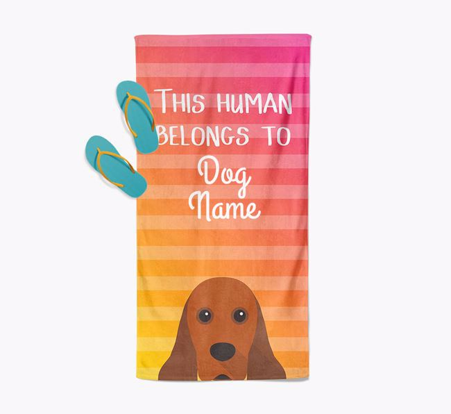 Personalised Pool Towel 'This Human Belongs To ' with American Cocker Spaniel Icon