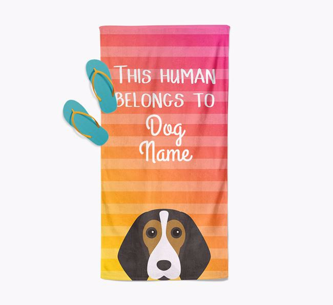 Personalised Pool Towel 'This Human Belongs To ' with Beagle Icon