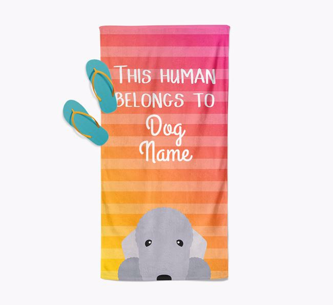 Personalised Pool Towel 'This Human Belongs To ' with Bedlington Terrier Icon