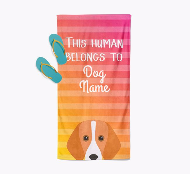 Personalised Pool Towel 'This Human Belongs To ' with Foxhound Icon