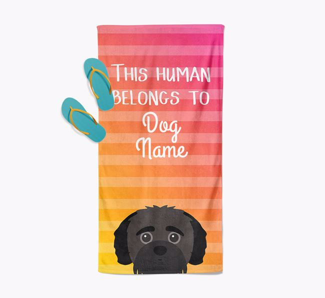 Personalised Pool Towel 'This Human Belongs To ' with Jack-A-Poo Icon