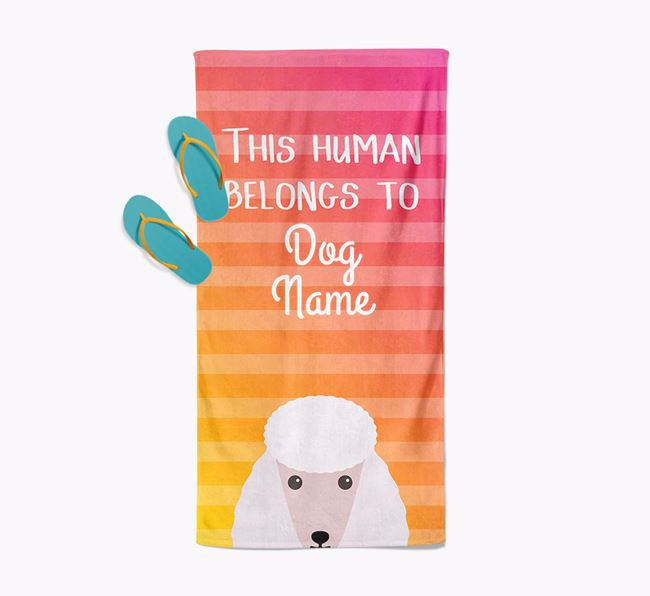 Personalised Pool Towel 'This Human Belongs To ' with Poodle Icon