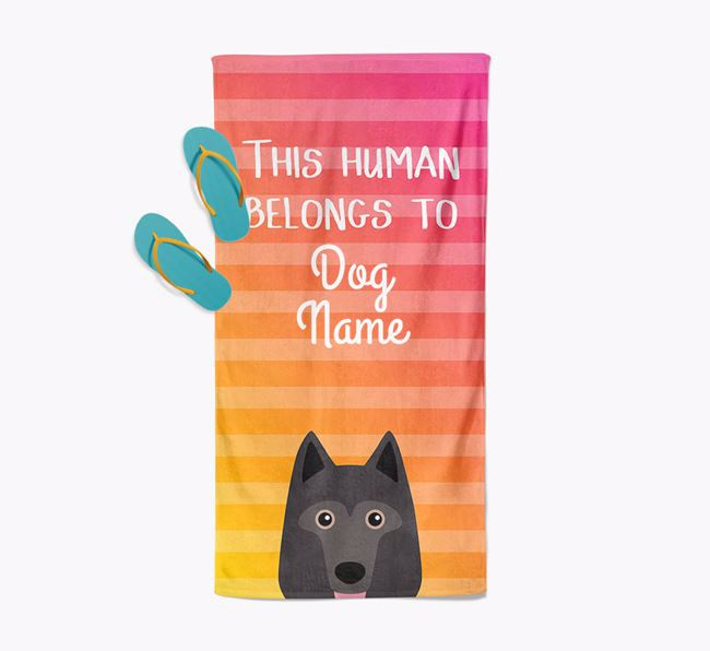 Personalised Pool Towel 'This Human Belongs To ' with Schipperke Icon