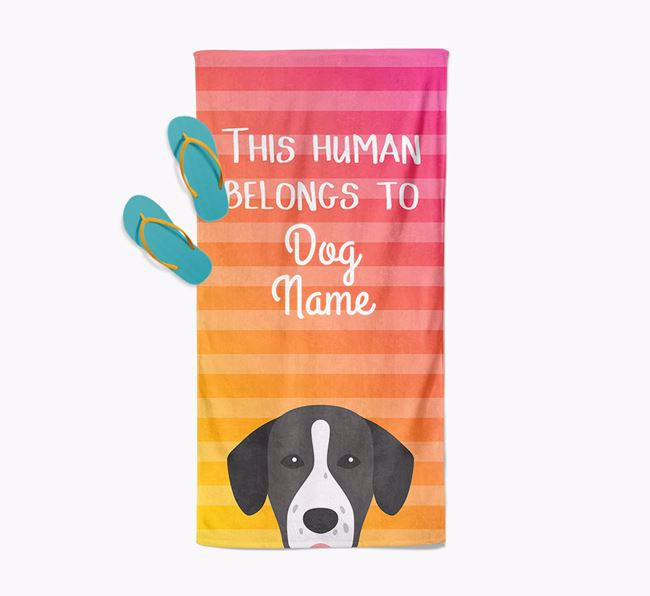 Personalised Pool Towel 'This Human Belongs To ' with Springador Icon