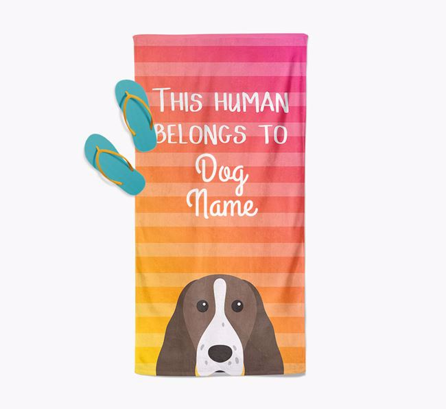 Personalised Pool Towel 'This Human Belongs To ' with Springer Spaniel Icon