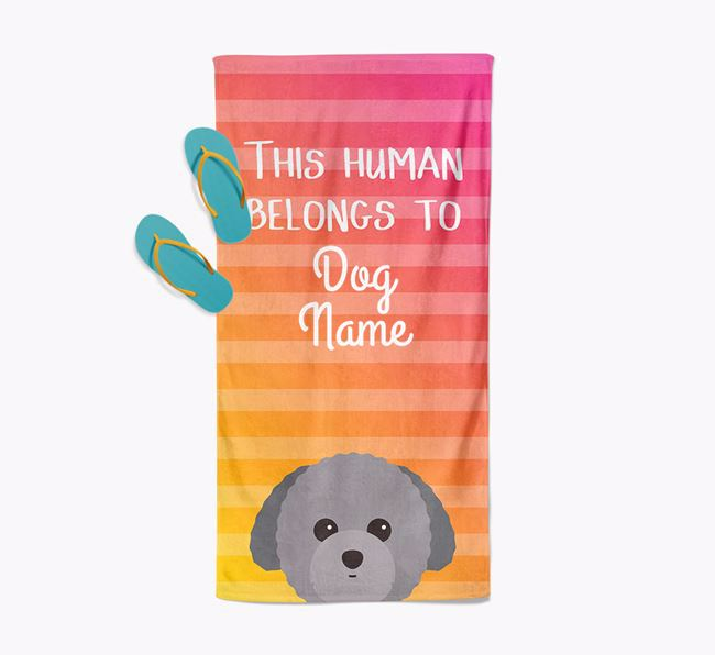 Personalised Pool Towel 'This Human Belongs To ' with Toy Poodle Icon