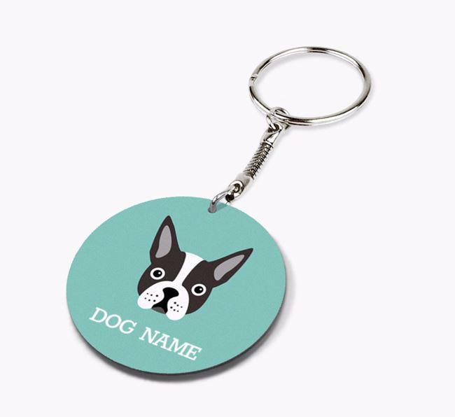 Personalised Boston Terrier Icon Keyring