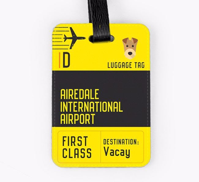 Personalised 'Airedale International Airport' Luggage Tag