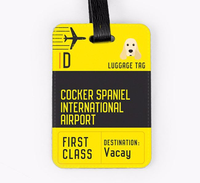 Personalised 'Cocker Spaniel International Airport' Luggage Tag