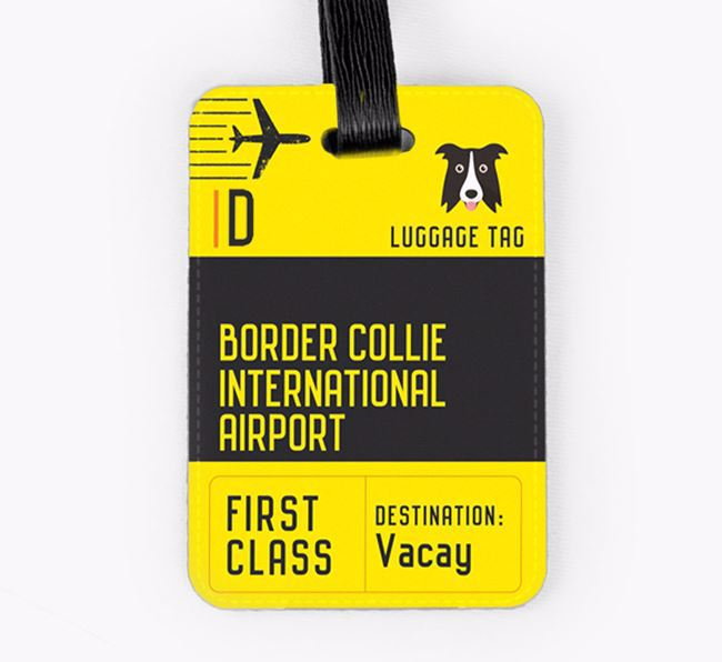 Personalised 'Border Collie International Airport' Luggage Tag