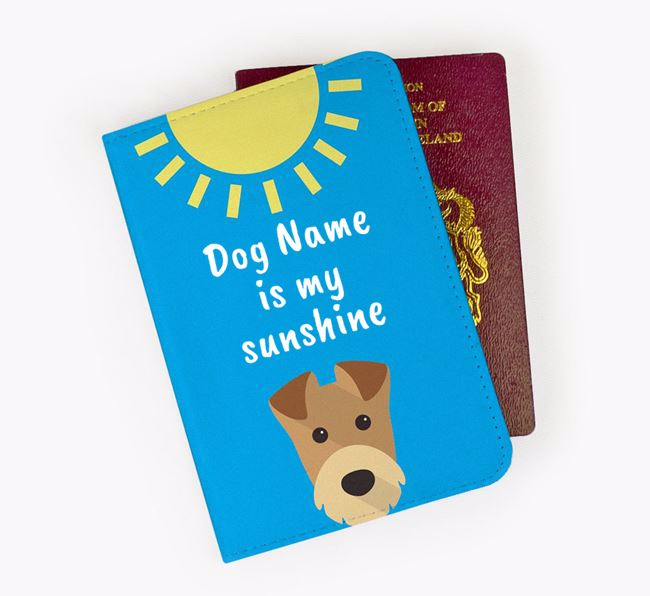 Personalised Passport Cover ' is my sunshine' with Airedale Terrier Icon