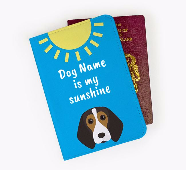 Personalised Passport Cover ' is my sunshine' with Beagle Icon