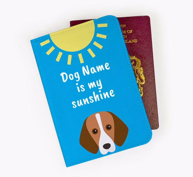 Personalised Passport Cover ' is my sunshine' with Foxhound Icon