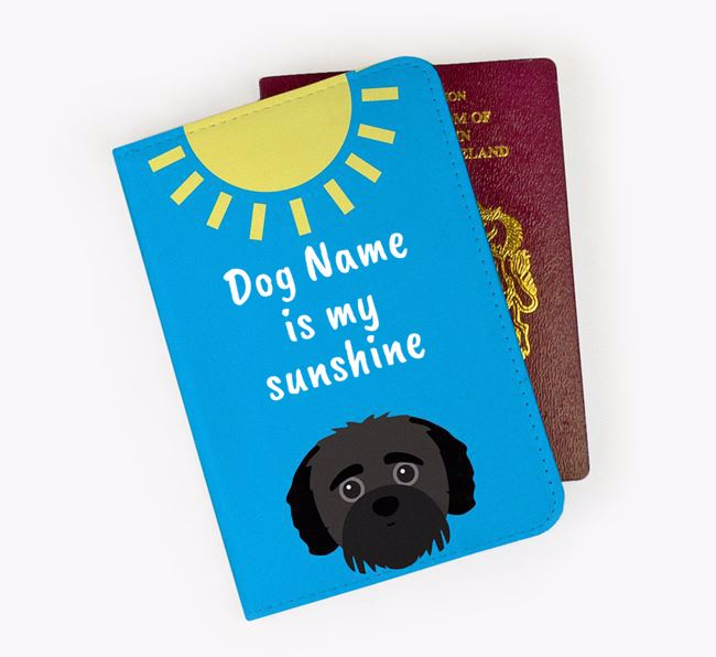 Personalised Passport Cover ' is my sunshine' with Jack-A-Poo Icon