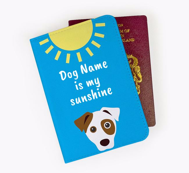 Personalised Passport Cover ' is my sunshine' with Dog Icon