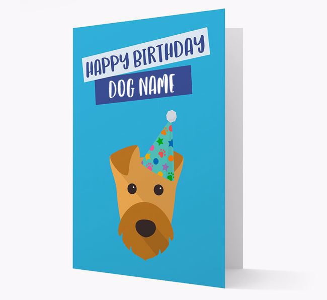 Personalised 'Happy Birthday ' Card with Airedale Icon