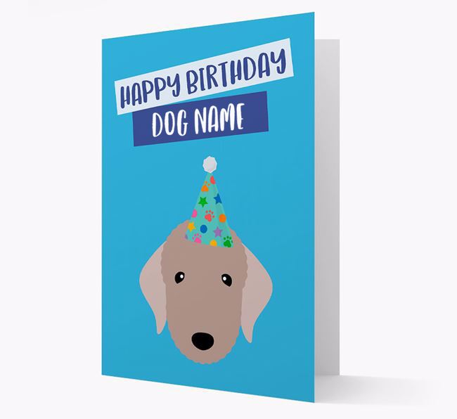 Personalised 'Happy Birthday ' Card with Bedlington Icon
