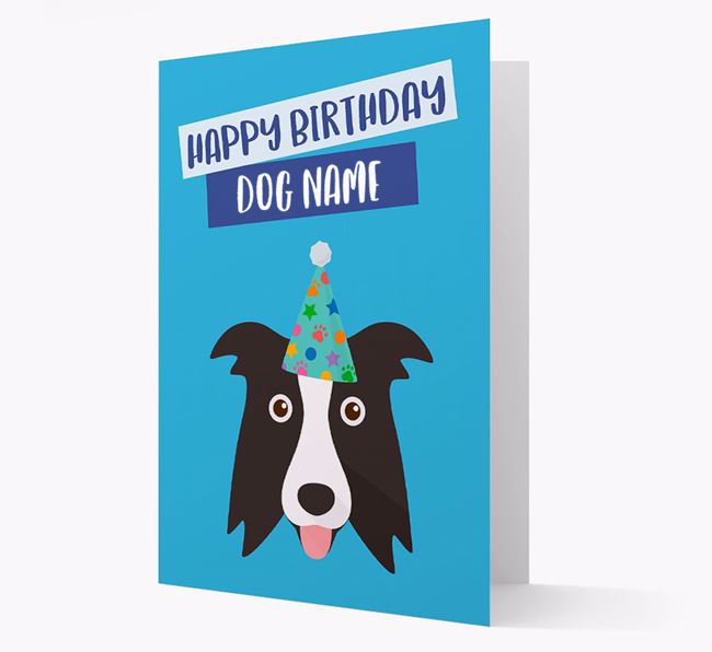 Personalised 'Happy Birthday ' Card with Border Collie Icon