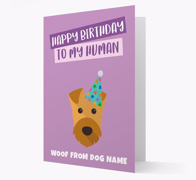 Personalised 'Happy Birthday To My Human' Card with Airedale Icon