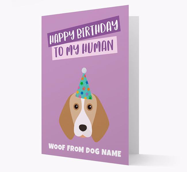 Personalised 'Happy Birthday To My Human' Card with Beagle Icon