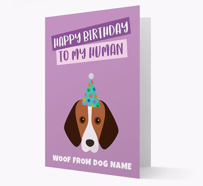 Personalised 'Happy Birthday To My Human' Card with Foxhound Icon