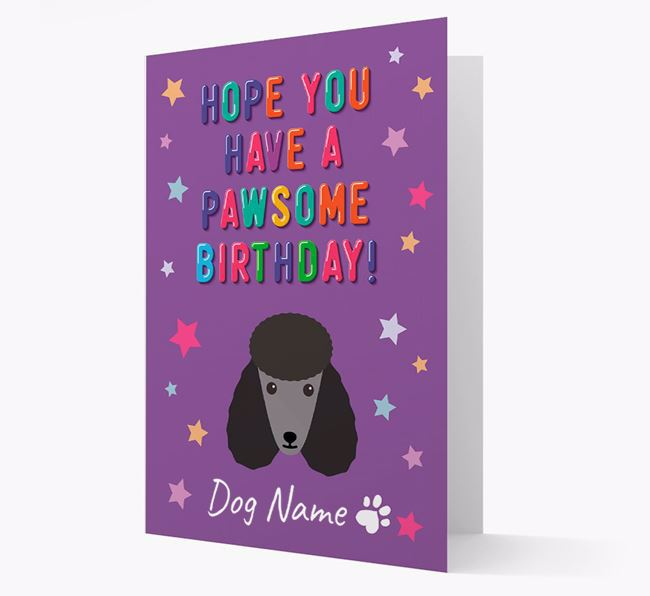 Personalised Card 'Hope You Have A Pawesome Birthday' with Poodle Icon