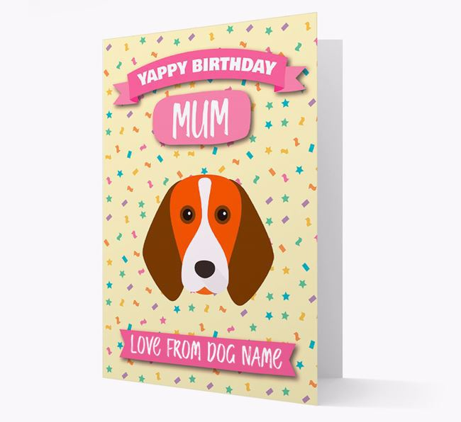 Personalised Card 'Yappy Birthday Mum' with Beagle Icon