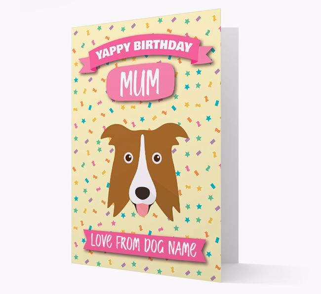 Personalised Card 'Yappy Birthday Mum' with Border Collie Icon