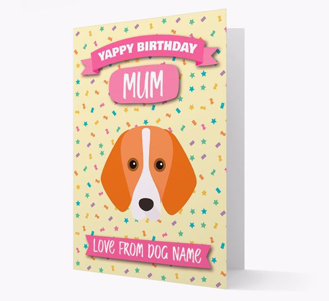 Personalised Card 'Yappy Birthday Mum' with Foxhound Icon